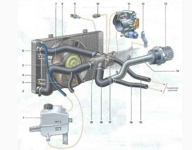 Схема системы охлаждения двигателя Лада Калина